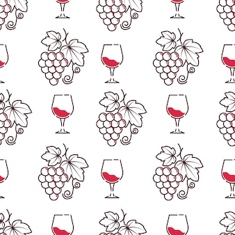 Vetor de padrão de degustação de degustação de vinhos e vinícolas