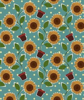Vetor de padrão de flor do sol.
