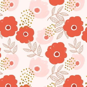 Vetor de padrão de flor doodle em vermelho e rosa