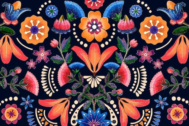 Vetor de padrão de flor étnica mexicana