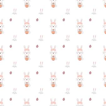 Vetor de padrão de pascua de coelho fofo e sem costura