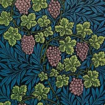 Vetor de padrão de uvas e vinhas vintage
