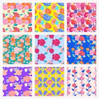 Vetor de padrão floral de primavera colorida com fundo de rosas definido