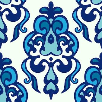 Vetor de padrão floral étnico do damasco. fundo sem costura de inverno