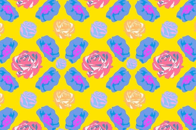 Vetor de padrão floral primavera amarela com fundo colorido de rosas