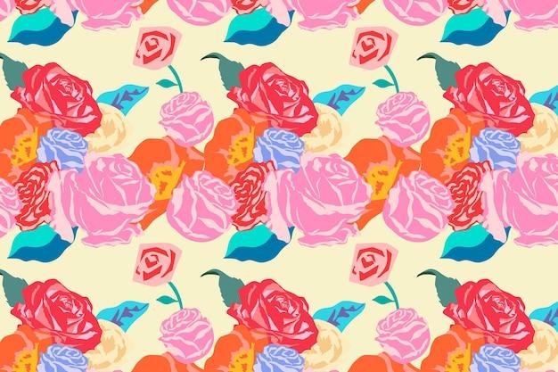 Vetor de padrão floral primavera rosa com fundo colorido de rosas