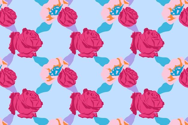 Vetor de padrão floral rosa fofo com fundo de rosas azuis