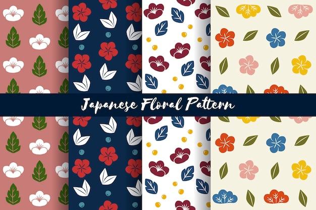 Vetor de padrão floral sem costura estilo japonês