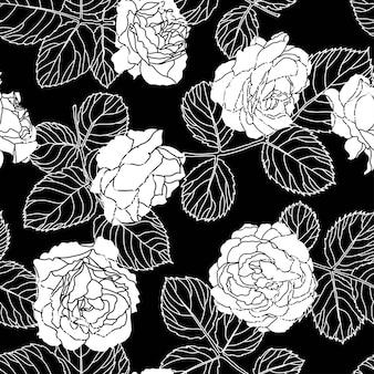 Vetor de padrão floral sem emenda de rosas ou peônias