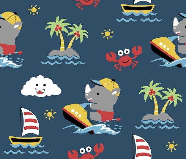 Vetor de padrão sem costura com tempo de férias animal engraçado na praia