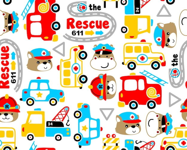 Vetor de padrão sem emenda com desenhos animados de equipe de resgate
