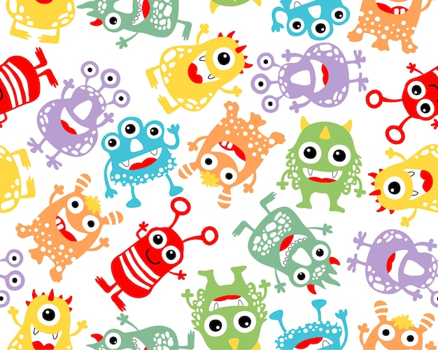 Vetor de padrão sem emenda com desenhos animados de monstro colorido