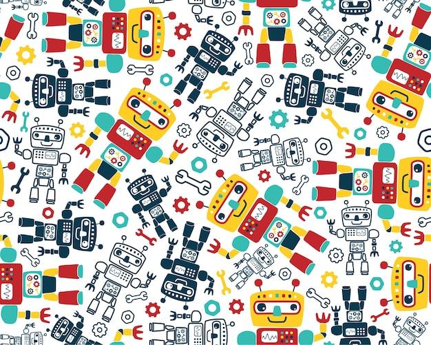 Vetor de padrão sem emenda com desenhos animados de robôs