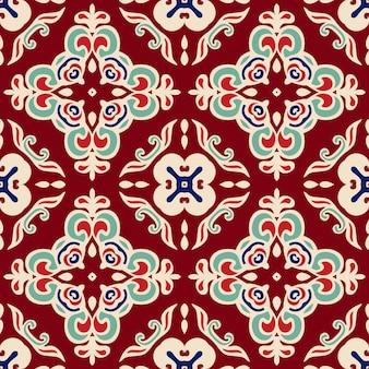 Vetor de padrão sem emenda com mosaico geométrico abstrato vermelho damasco