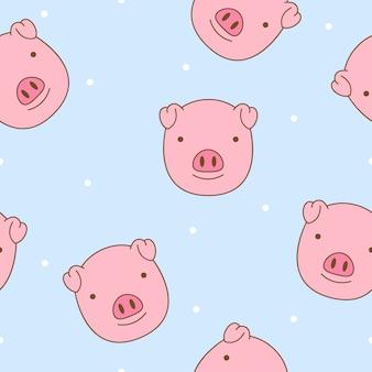 Vetor de padrão sem emenda de cara de porco bonito