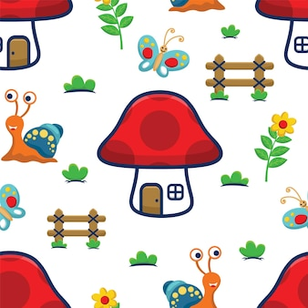 Vetor de padrão sem emenda de casa de cogumelo com insetos, flores, cerca