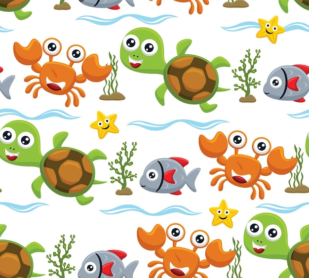 Vetor de padrão sem emenda de desenho animado de animais marinhos com algas marinhas