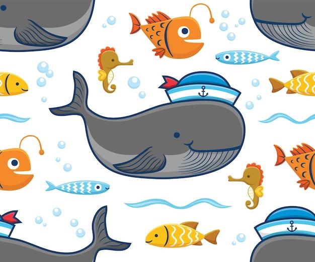 Vetor de padrão sem emenda de desenho animado de animais marinhos, grande baleia usando chapéu de marinheiro