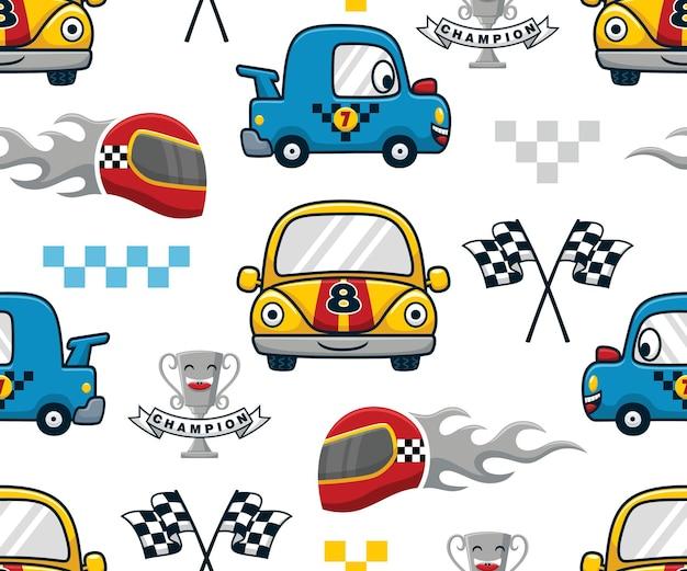 Vetor de padrão sem emenda de desenho animado de carro de corrida engraçado com elementos de corrida