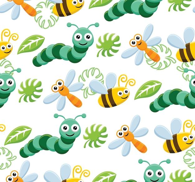 Vetor de padrão sem emenda de desenho animado de insetos