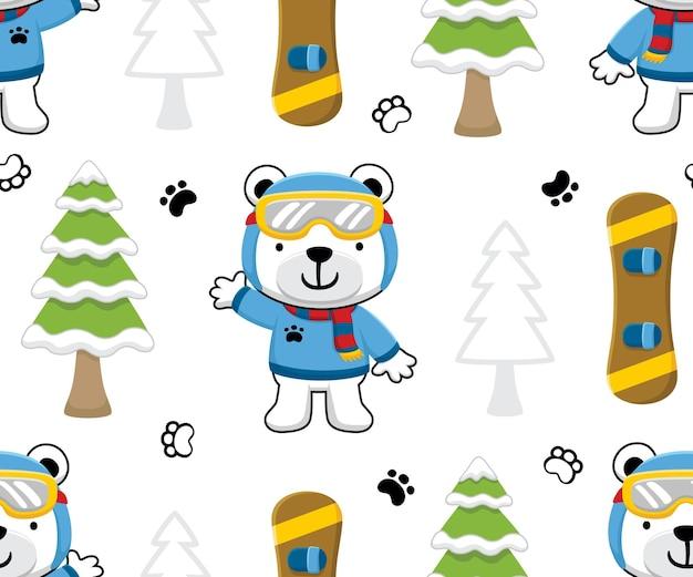 Vetor de padrão sem emenda de desenho animado de urso com elementos de esporte de snowboard
