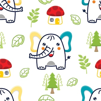 Vetor de padrão sem emenda de desenho de elefante com casa de cogumelos e plantas