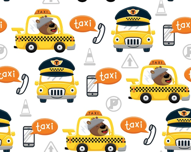 Vetor de padrão sem emenda de desenho de urso engraçado dirigindo táxi amarelo com equipamento de telecomunicações e sinais de trânsito