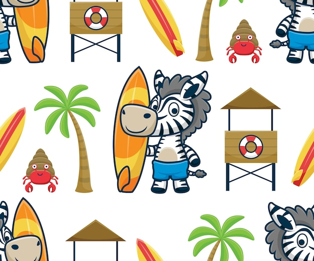 Vetor de padrão sem emenda de desenho de zebra segurando uma prancha de surf na praia, posto de salva-vidas, palmeira e caranguejo eremita