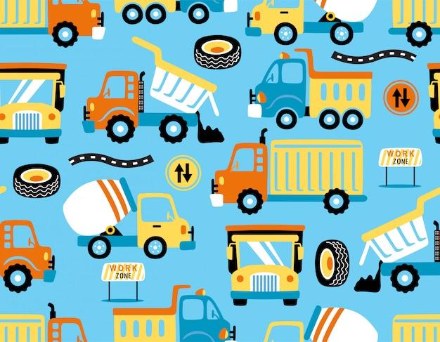 Vetor de padrão sem emenda de desenhos animados de caminhões com sinais de trânsito