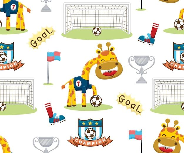 Vetor de padrão sem emenda de desenhos animados de elementos de futebol com a girafa, o jogador de futebol