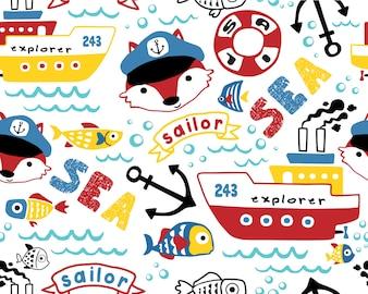 Vetor de padrão sem emenda de desenhos animados de equipamentos de vela