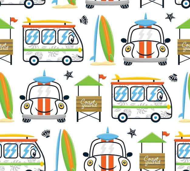 Vetor de padrão sem emenda de desenhos animados de veículos sorridentes com prancha de surf e posto de salva-vidas