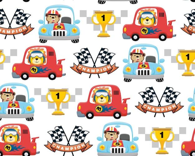 Vetor de padrão sem emenda de elementos de desenho animado de corrida de carros com motorista de animais
