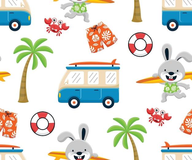 Vetor de padrão sem emenda de elementos de férias na praia com coelho engraçado carregando prancha de surf