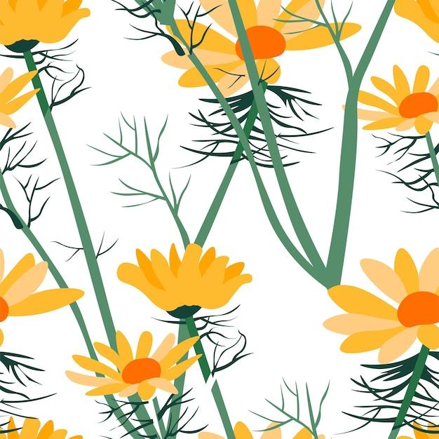 Vetor de padrão sem emenda de flores e folhas de verão