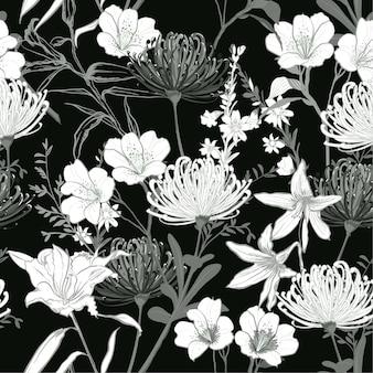 Vetor de padrão sem emenda de flores preto e branco