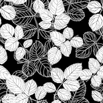 Vetor de padrão sem emenda de folhas e folhagens de botânica