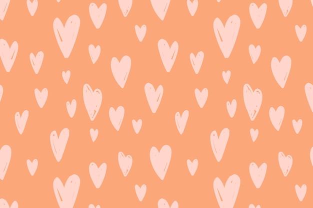 Vetor de padrão sem emenda de fundo com coração fofo