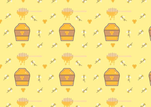 Vetor de padrão sem emenda de garrafa de mel