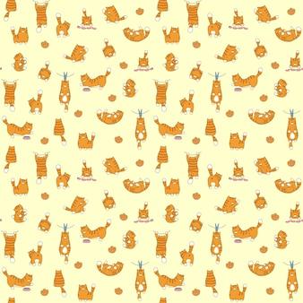 Vetor de padrão sem emenda de gatos. fundo de gato de desenho animado para bebê, impressão de tecido infantil.