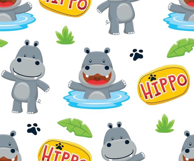 Vetor de padrão sem emenda de ilustração dos desenhos animados de hipopótamo