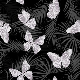 Vetor de padrão sem emenda de padrão tropical escuro borboleta