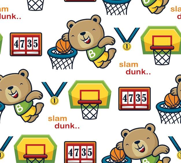 Vetor de padrão sem emenda de urso engraçado jogando basquete com elementos de basquete