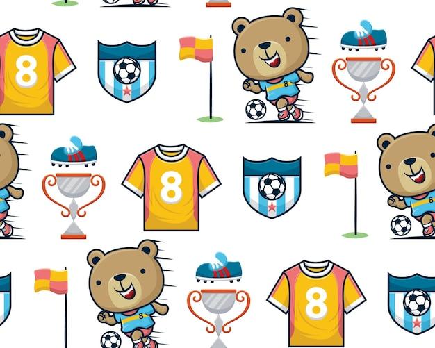 Vetor de padrão sem emenda de urso engraçado jogando futebol com elementos de futebol