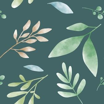 Vetor de padrões de folha verde aquarela