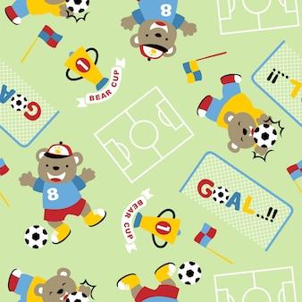 Vetor de padrões sem costura com futebol engraçado