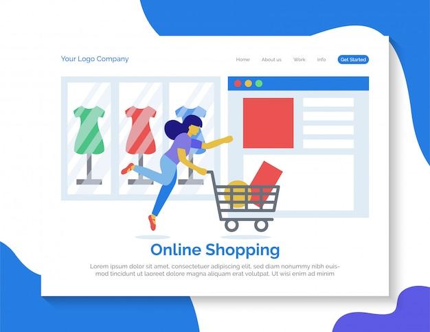 Vetor de página de destino de compras on-line.