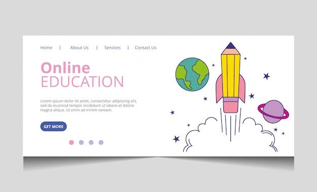 Vetor de página de destino de educação on-line