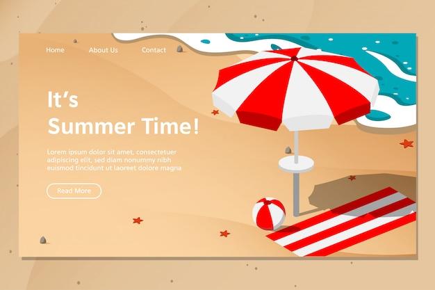 Vetor de página de destino de praia de verão