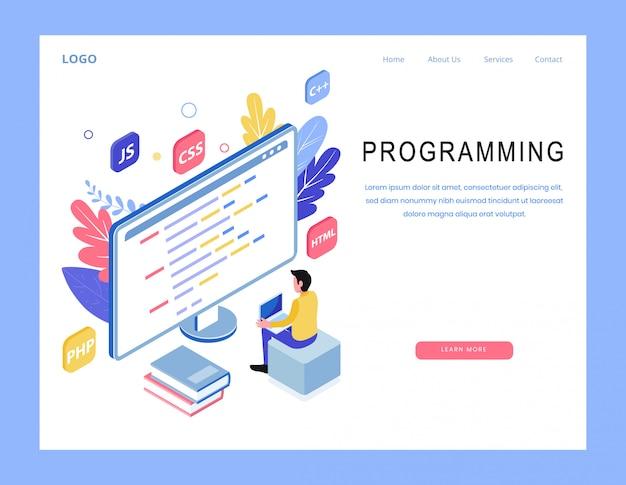 Vetor de página de destino de programação isométrica